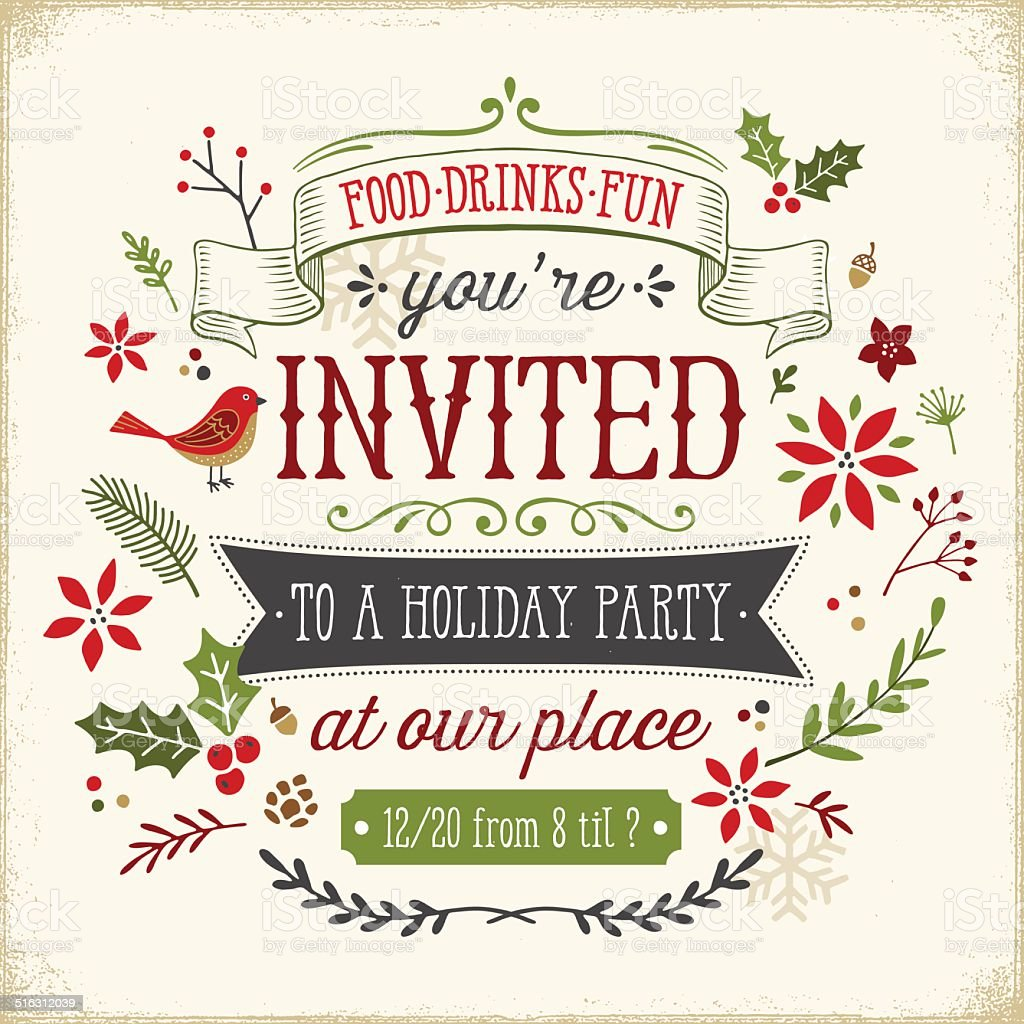 Hand Drawn Holiday Party Invitation Stock Vector Art & More Images ...