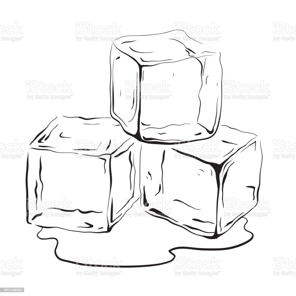 Hand Drawn Ice Cubes Stock Vector Art & More Images of Art