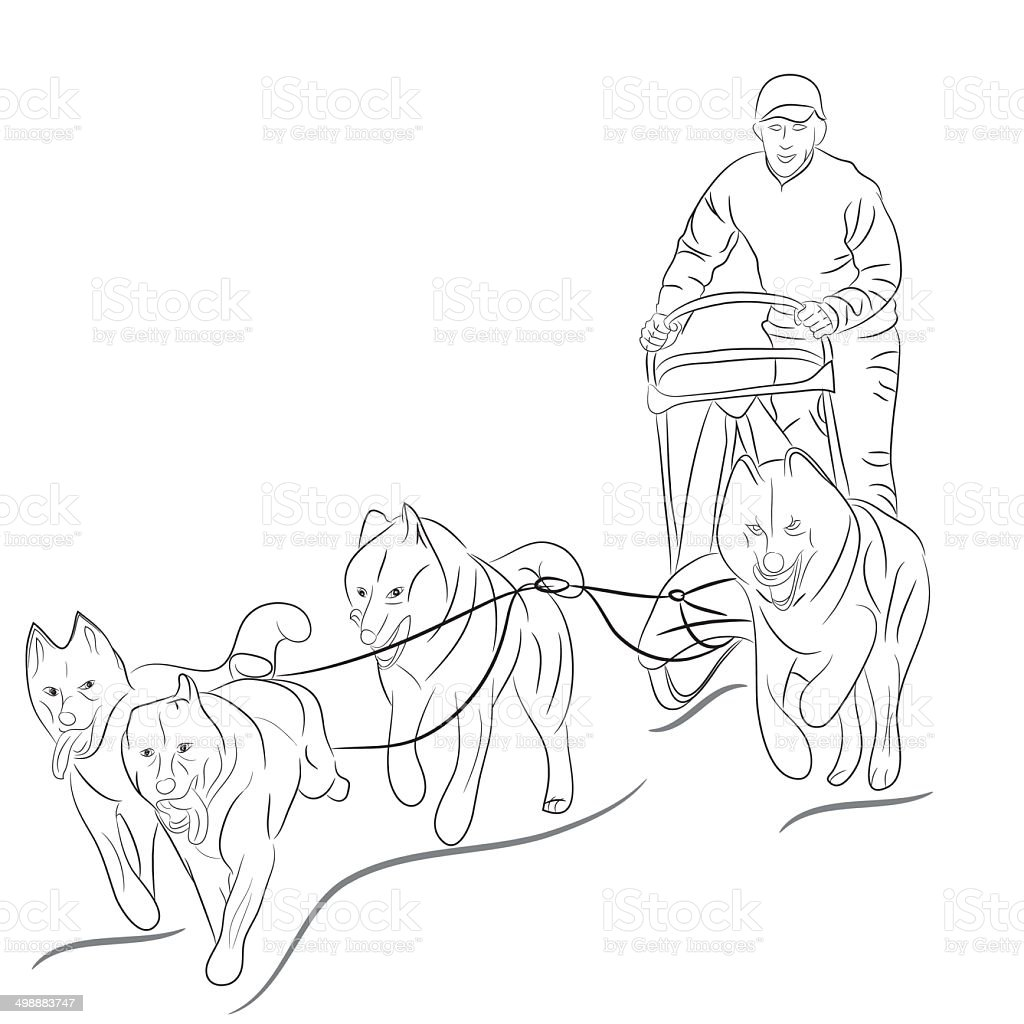 Hand Drawn Illustration Of Dogs Pulling A Sled Stock