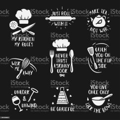 Vintage Posters For Kitchen Island With Chairs Hand Drawn Set Vector Illustration Stock