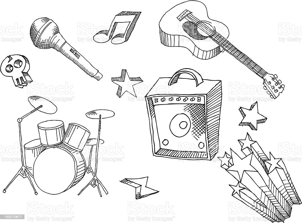 Hand Drawn Music Rock Stock Vector Art & More Images of