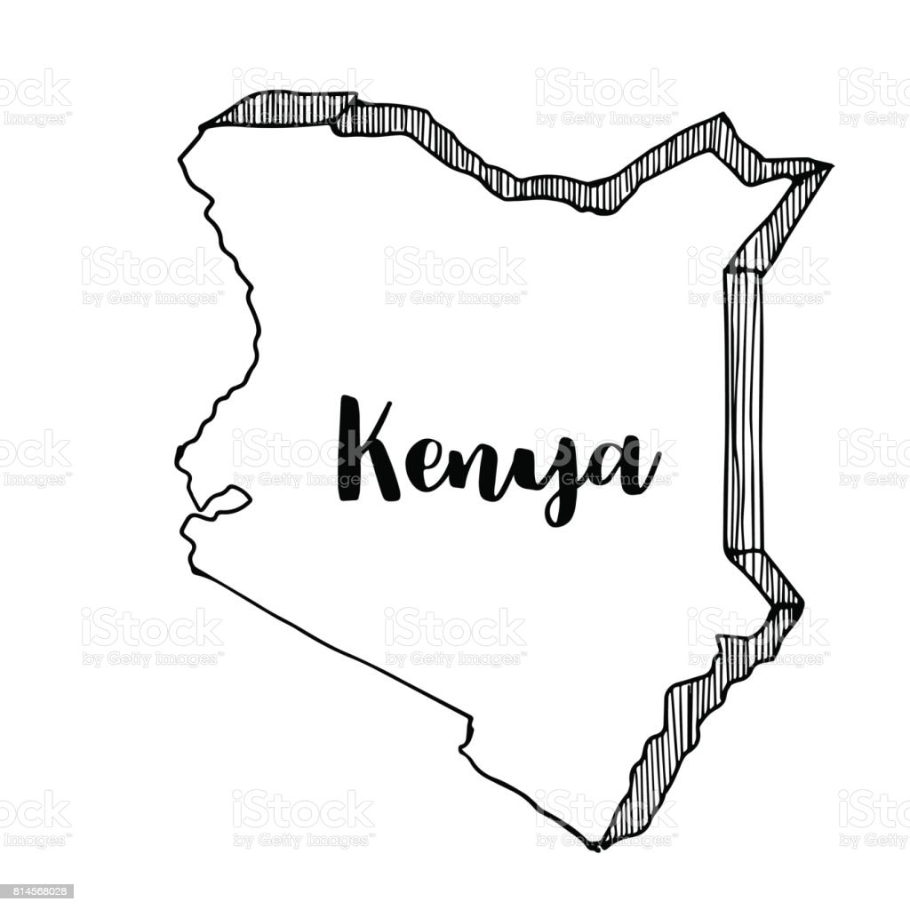 Hand Drawn Of Kenya Map Vector Illustration Stock Vector