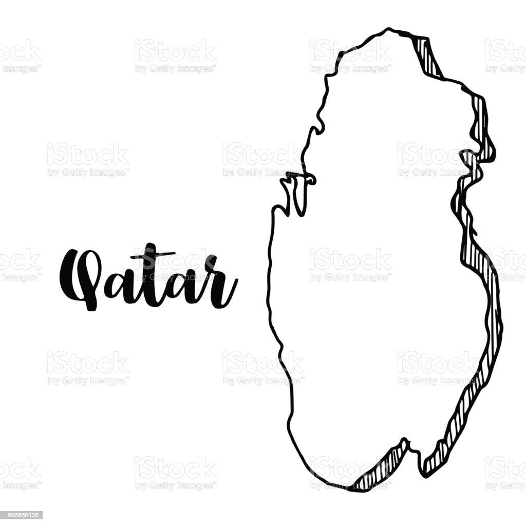 Hand Drawn Of Qatar Map Vector Illustration stock vector