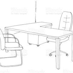 Office Chair Vector Modern Rental Hand Drawn Desk Illustration Stock Royalty Free