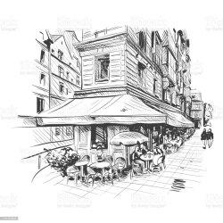 cafe paris drawing france pencil outdoor vector clip illustration illustrations hand