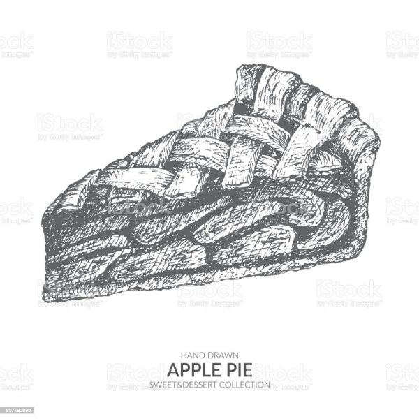 hand drawn piece of apple pie