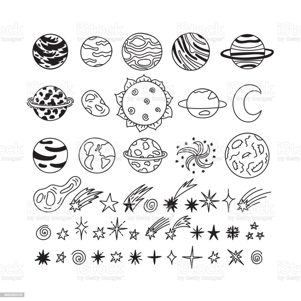 Hand Drawn Planets Stars Asteroids And Other Space Objects