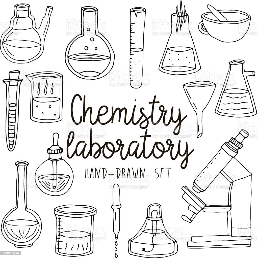 Hand Drawn Set Of Chemistry Laboratory Equipments Stock