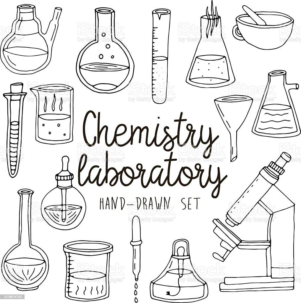 Hand Drawn Set Of Chemistry Laboratory Equipments Stock