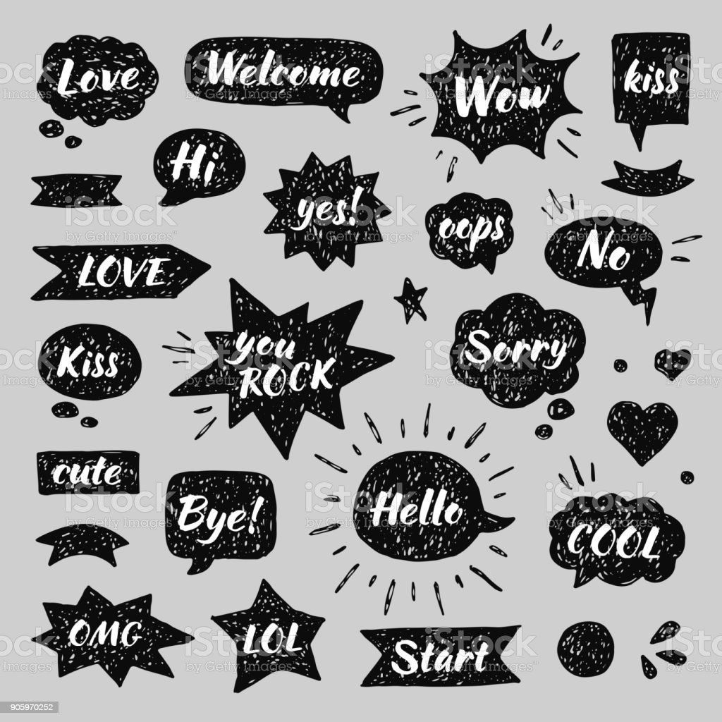 Hand Drawn Set Of Speech Bubbles With Dialog Words Hello
