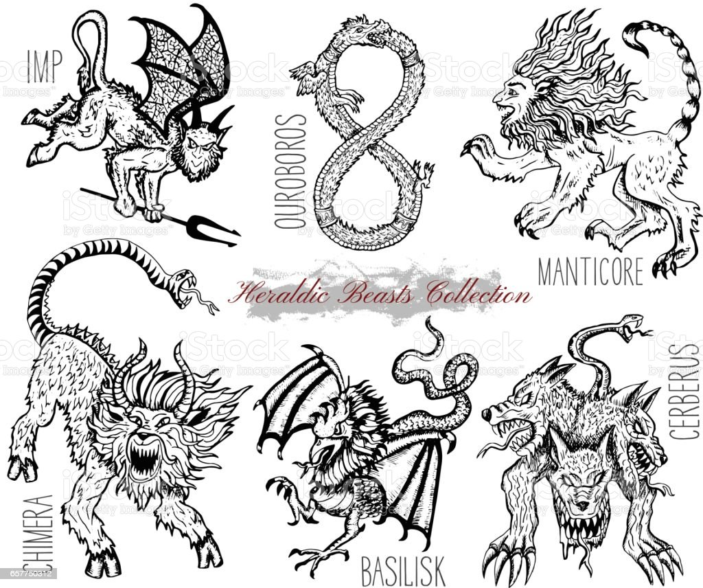 Hand Drawn Set With Heraldic Beasts And Mythical Monsters