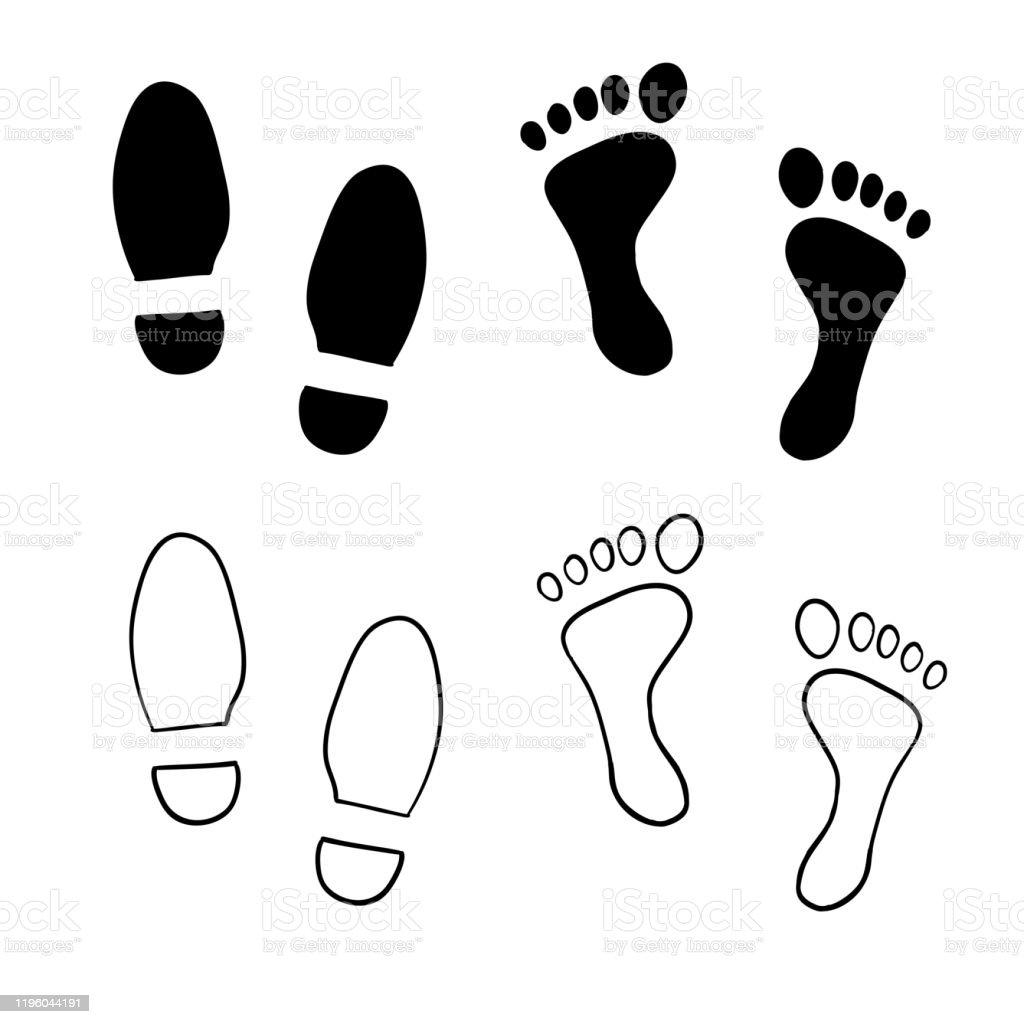 impression de chaussure dessinee a la main illustration dimpression de pied avec le vecteur de modele de dessin anime de griffonnage vecteurs libres de droits et plus d images vectorielles de adulte