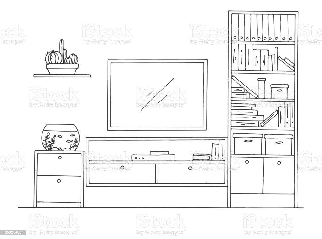 Ilustración de Boceto Dibujado De La Mano Dibujo Lineal