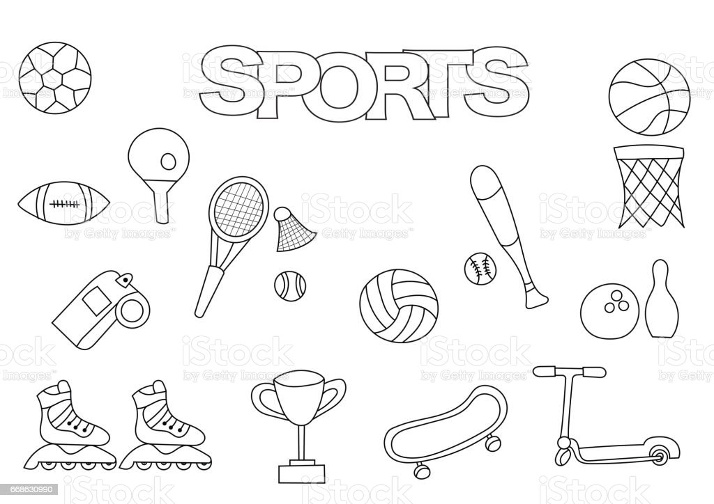 Hand Drawn Sports Set Coloring Book Template Outline