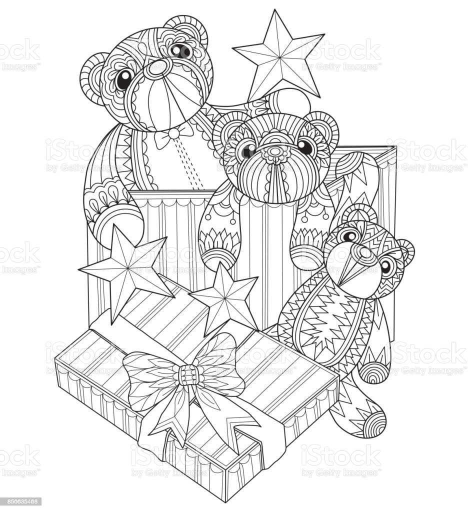Hand Drawn Teddy Bear In Gift Box For Adult Coloring Page