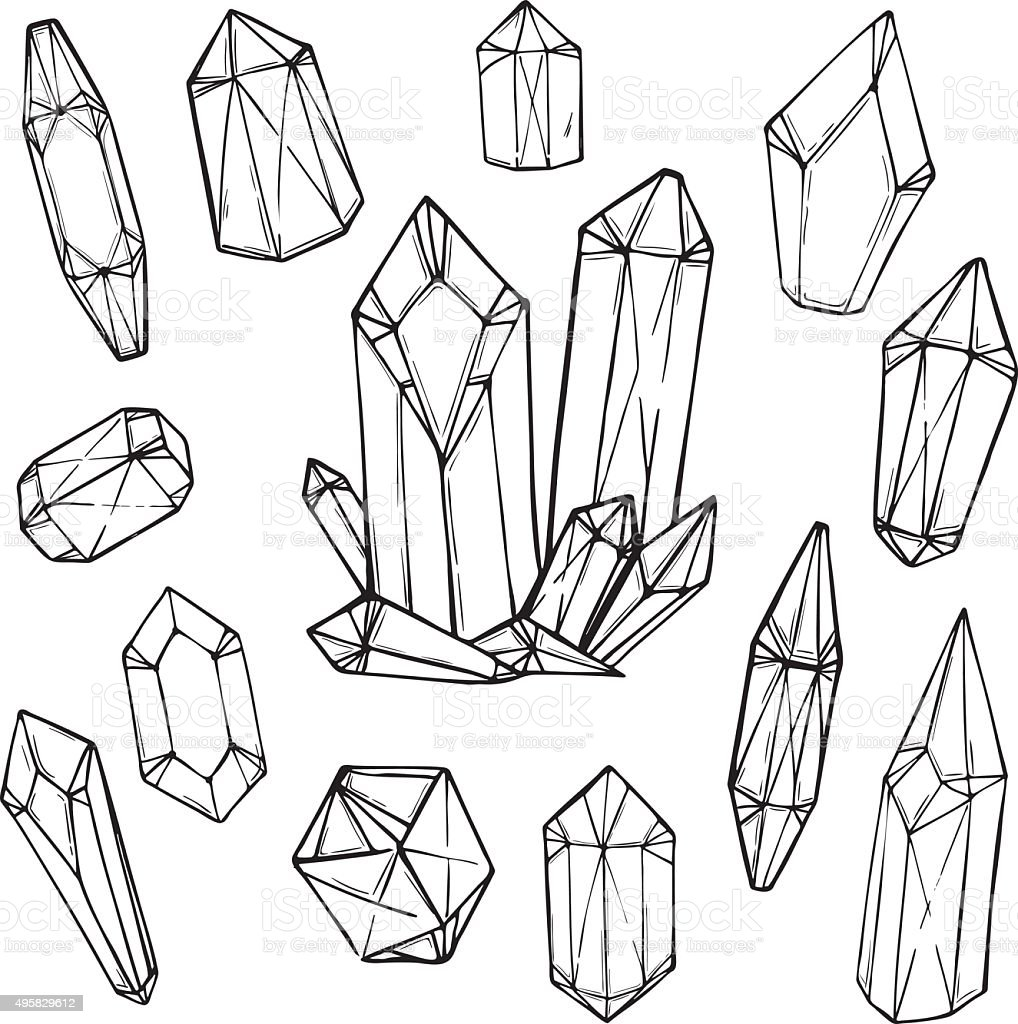 Hand Drawn Vector Illustration Set Of Geometric Crystals