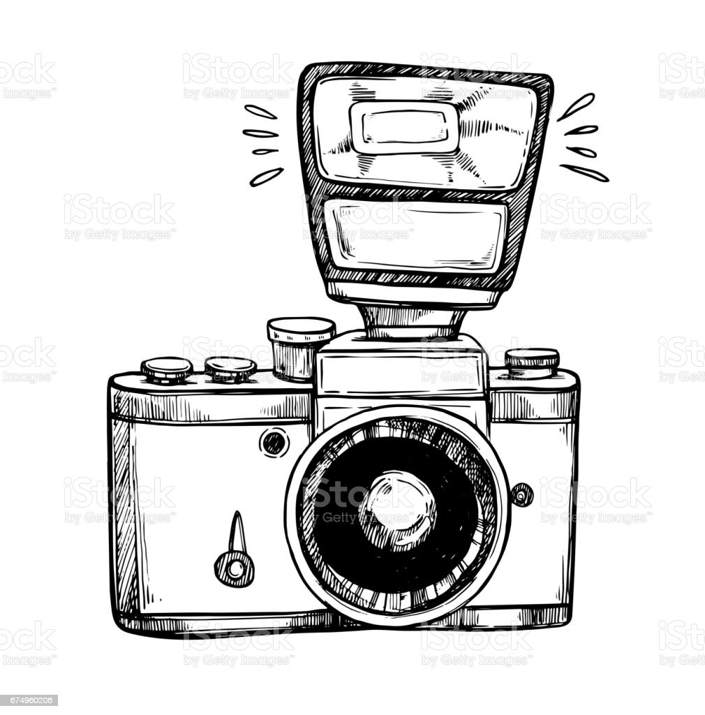 Hand Drawn Vector Illustrations Retro Camera With Flash