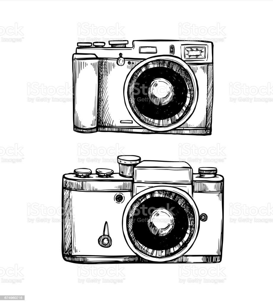 Hand Drawn Vector Illustrations Retro Cameras Collection