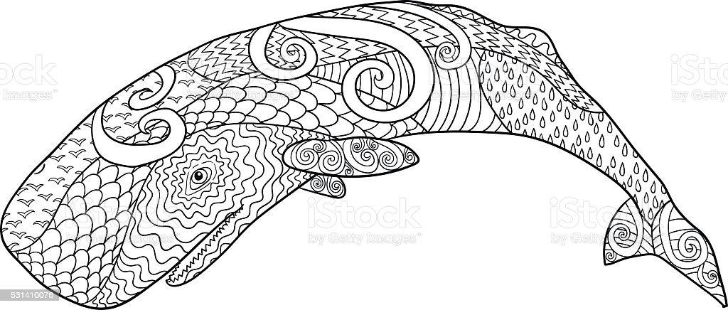 Baleiamão Desenhada Para Anti Stress Coloração Página
