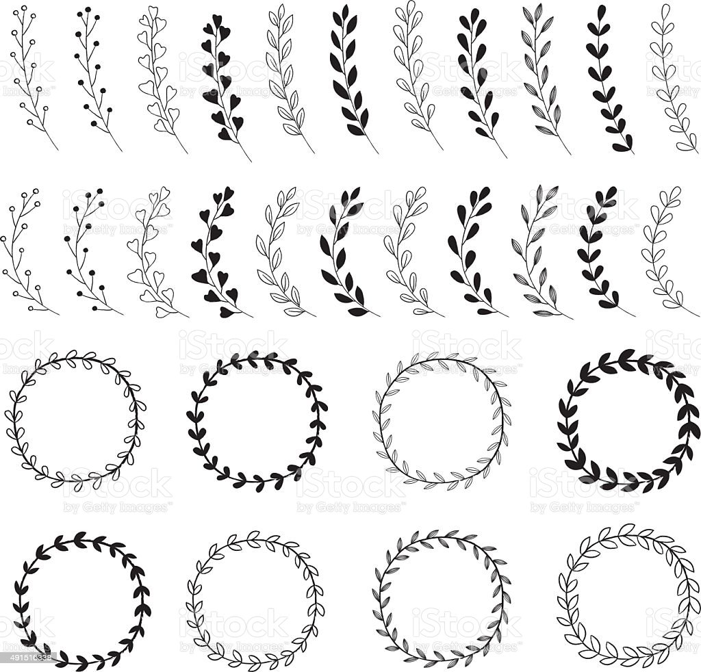 Hand Drawn Wreath Designs Stock Illustration  Download