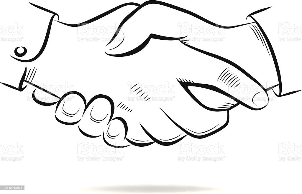 Hand Shake Vector Sketch Stock Vector Art & More Images of