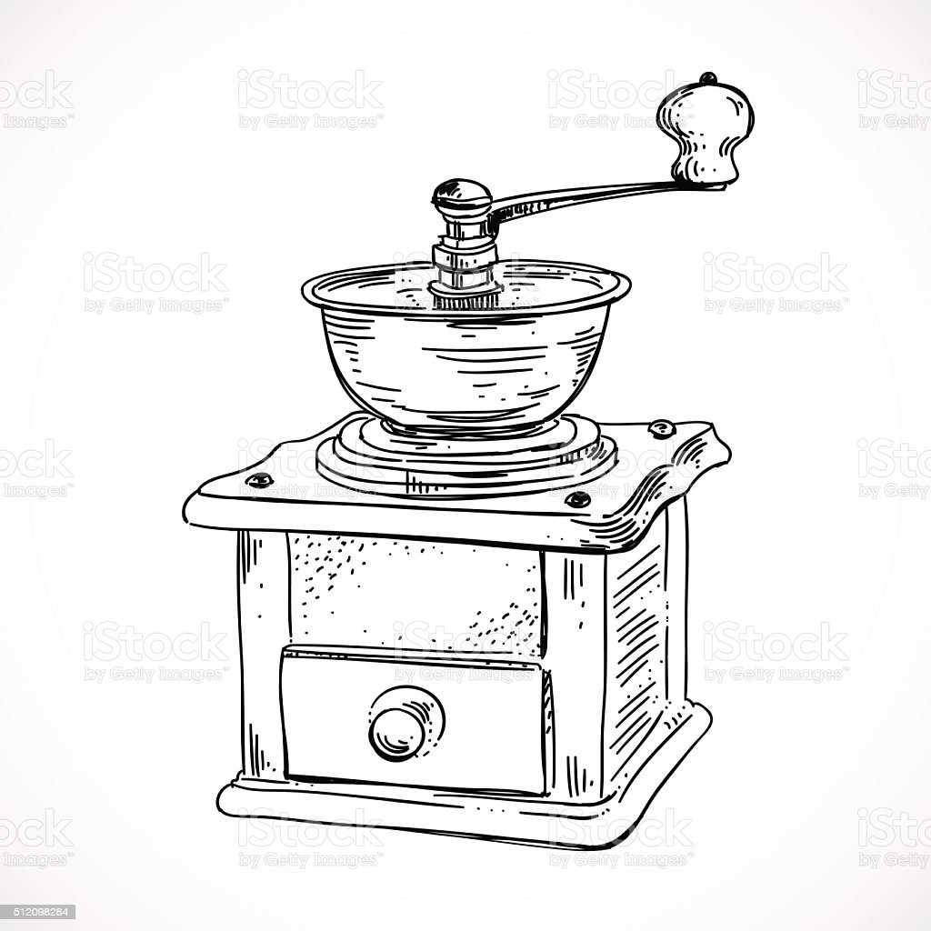 Hand Sketched Coffee Mill Vintage Coffee Grinder Stock