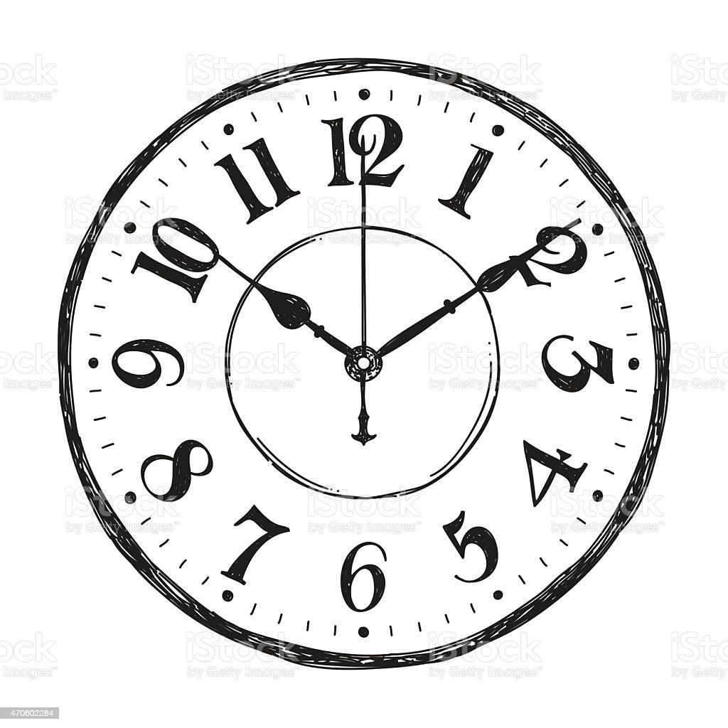 Hand Sketched Vector Watch Clock On White Background Stock