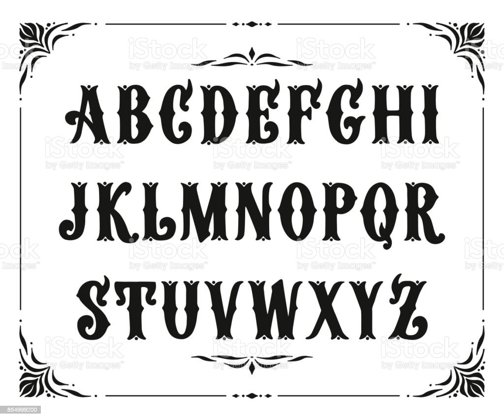 Handcrafted Letters With Victorian Decor Vector Font Type