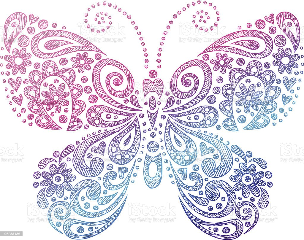 Handdrawn Sketchy Doodle Butterfly Stock Vector Art Amp More