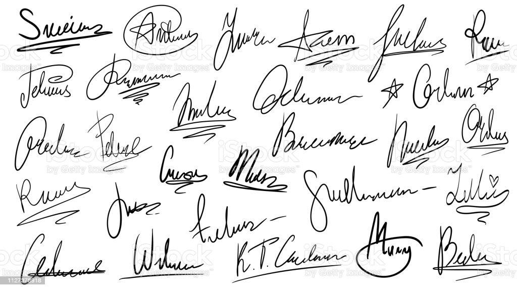 Vetores de Assinatura Manuscrita Manuais Assinaturas