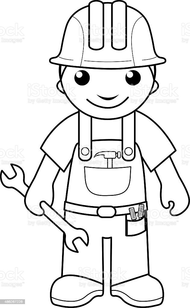 Handyman Coloring Page For Kids Stock Vector Art & More