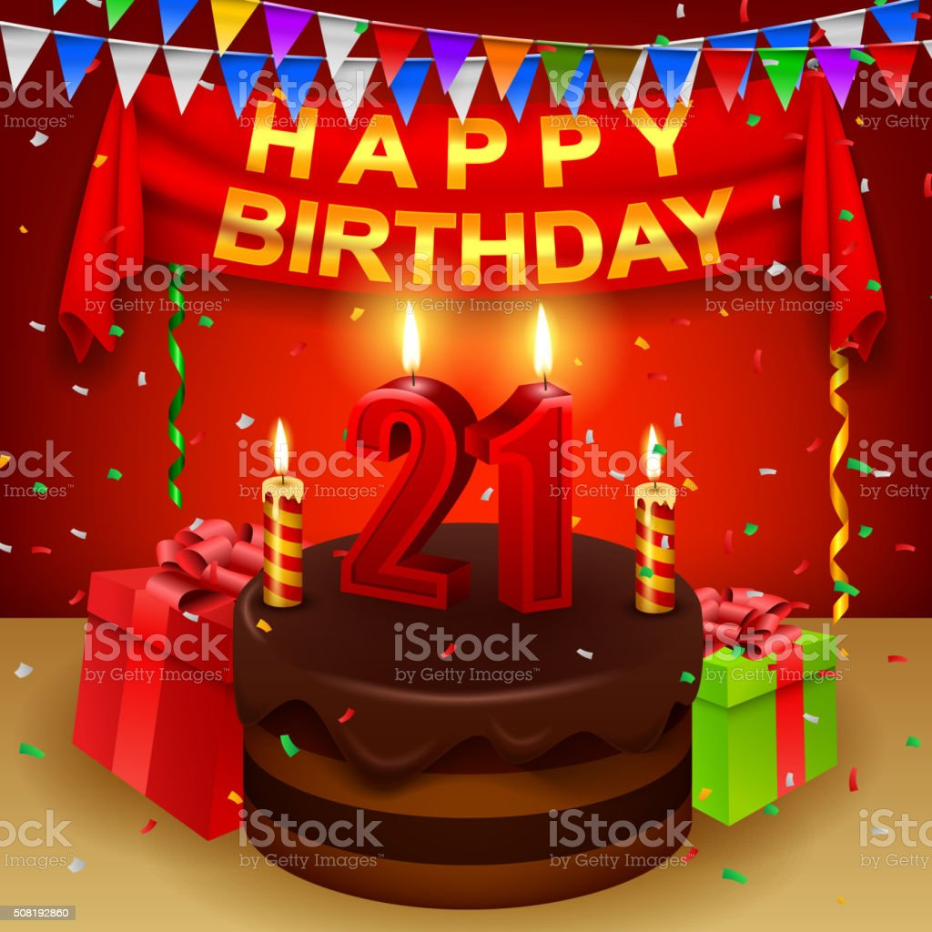 Best 21st Birthday Illustrations Royalty Free Vector