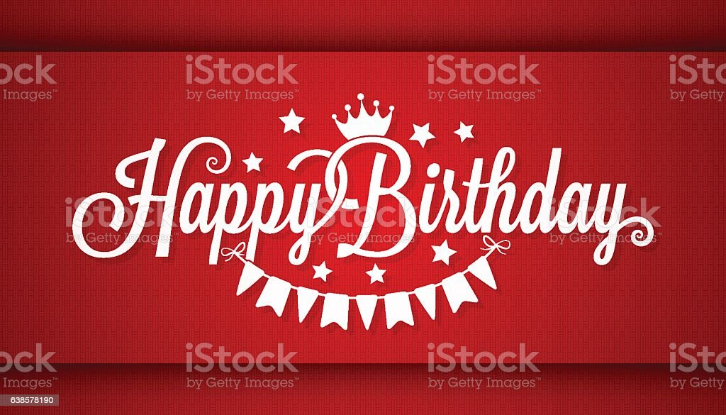 Happy Birthday Card On Red Background Stock Vector Art