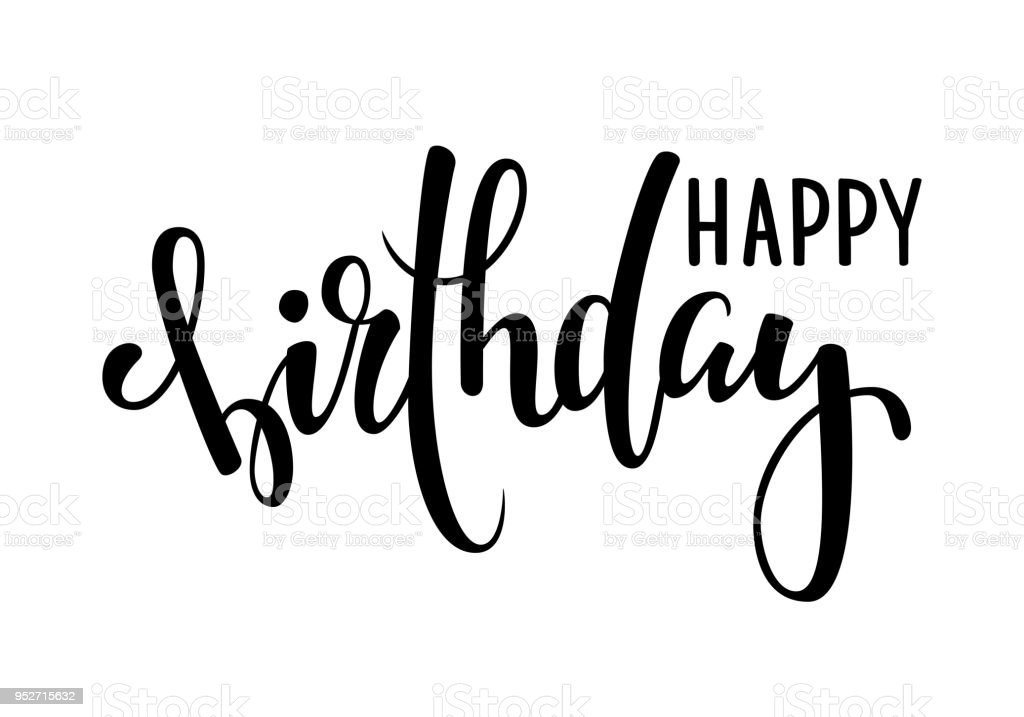 Handgezeichnete Kalligraphie Happy Birthday Schriftzug