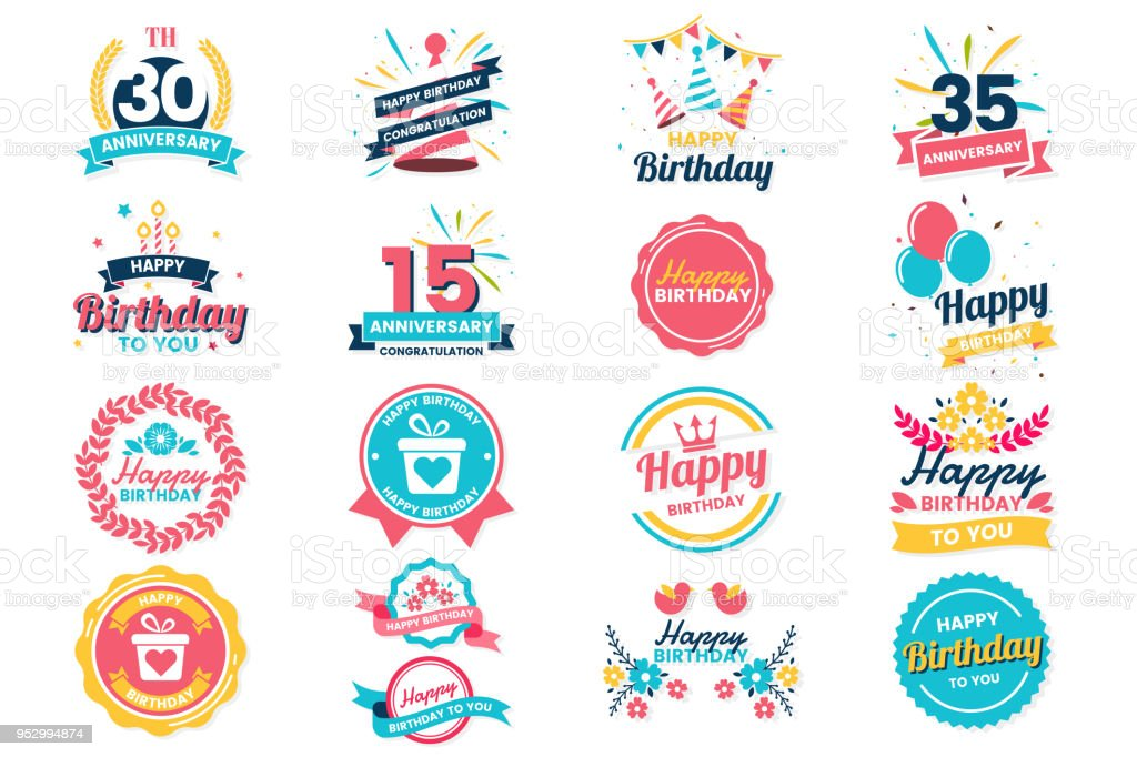 happy birthday vector logo