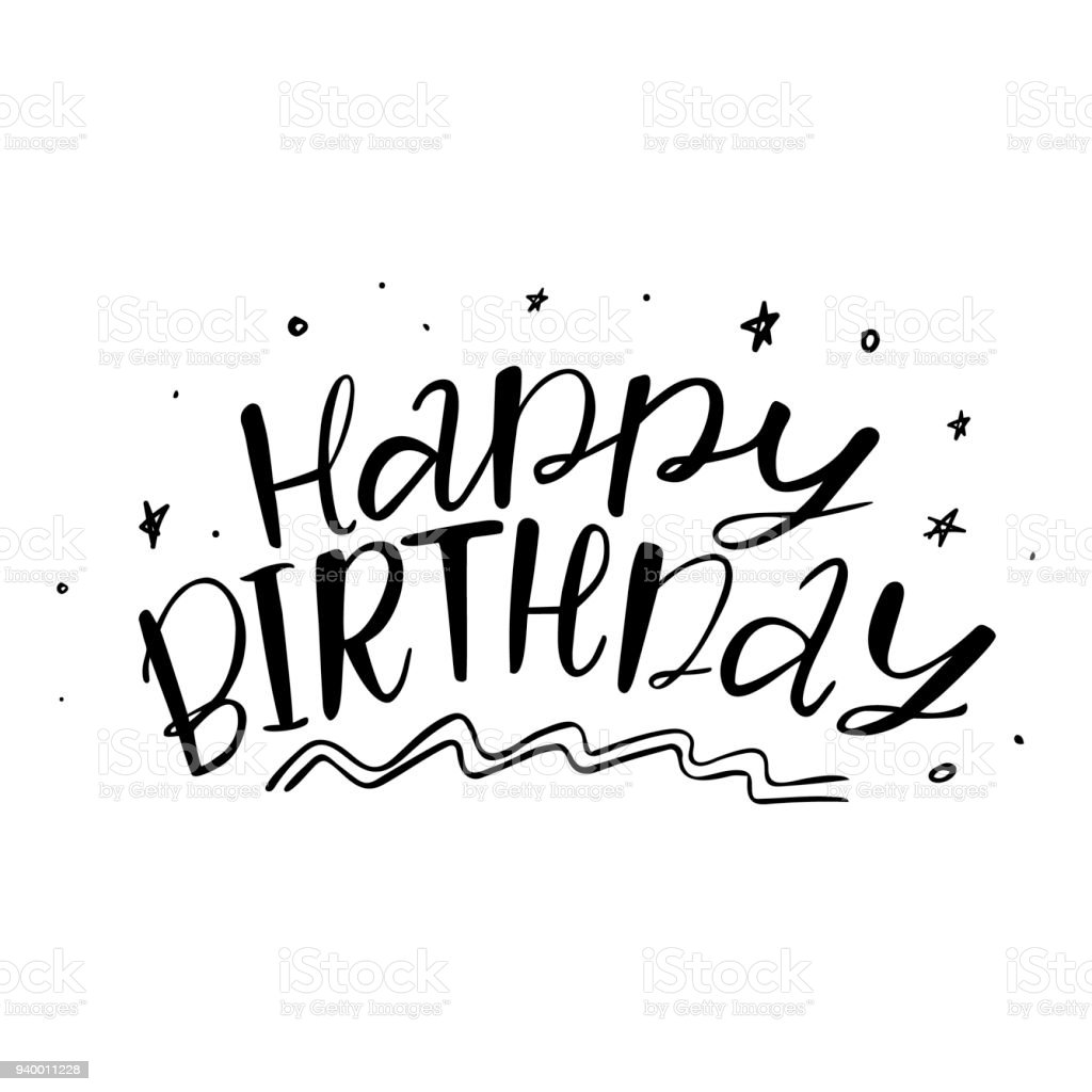 Happy Birthday Words And Stars Stock Vector Art & More