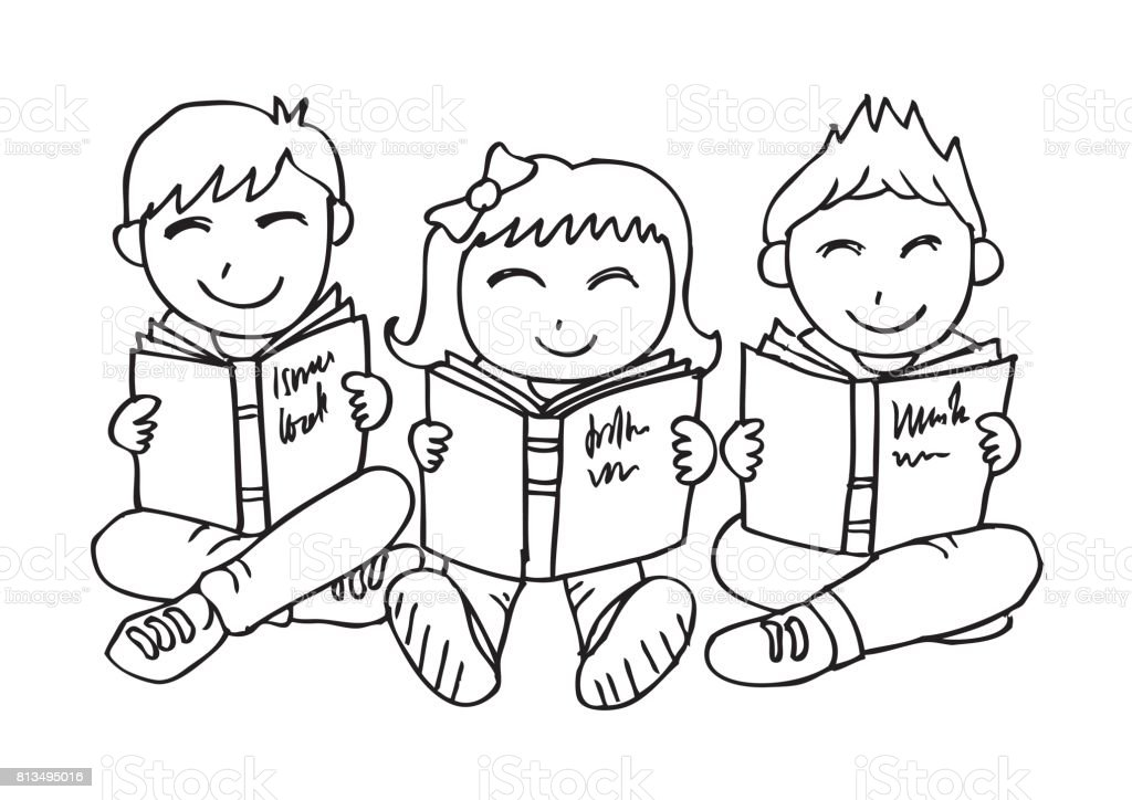 Happy Children Sitting While Reading Books Stock