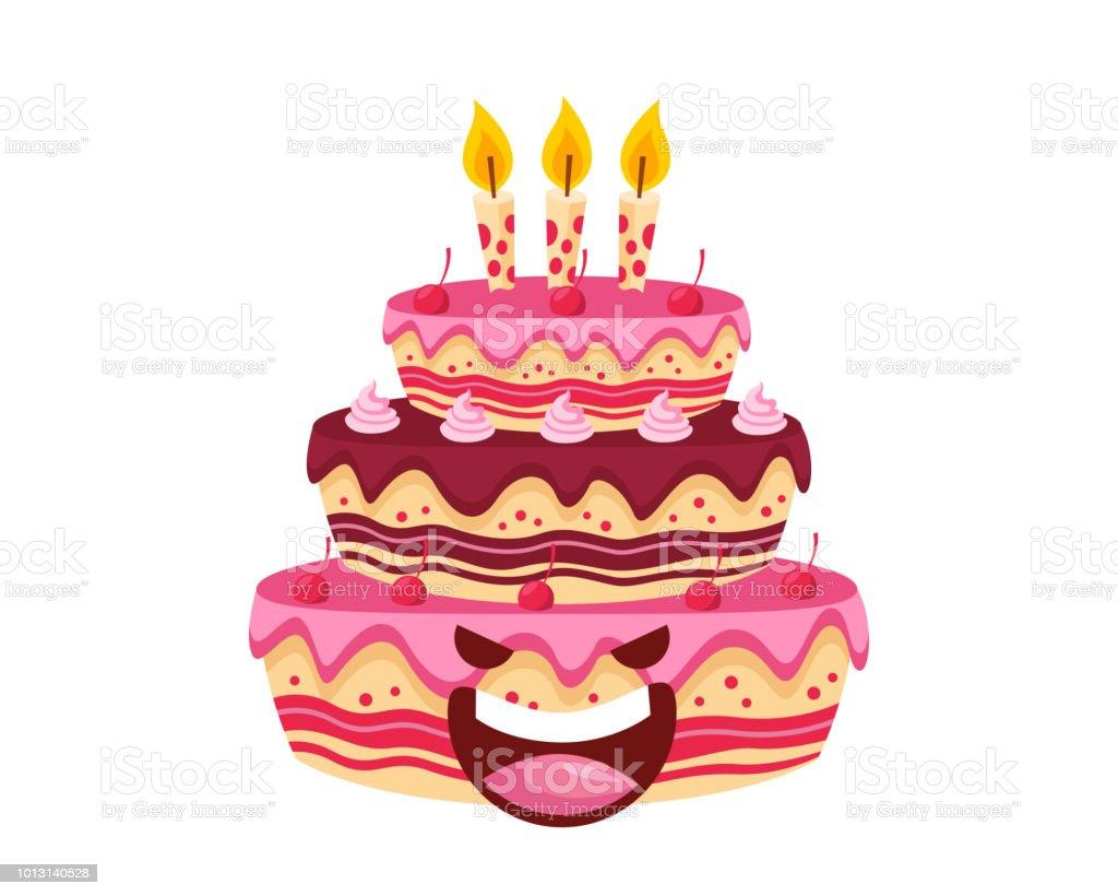 快樂可愛的美味草莓巧克力生日蛋糕卡通人物插畫向量圖形及更多信息圖形圖片 - iStock