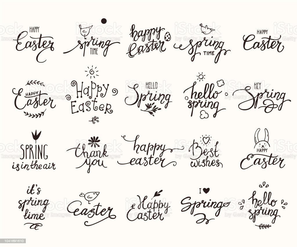 Vetor de Feliz Páscoa Primavera Escrito À Mão Lettering