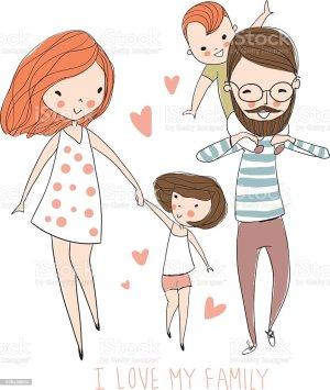 mother daughter illustrations clip vector father happy cartoons royalty