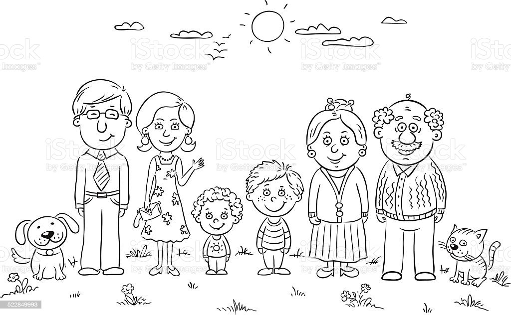 Happy Family Outline Stock Vector Art & More Images of