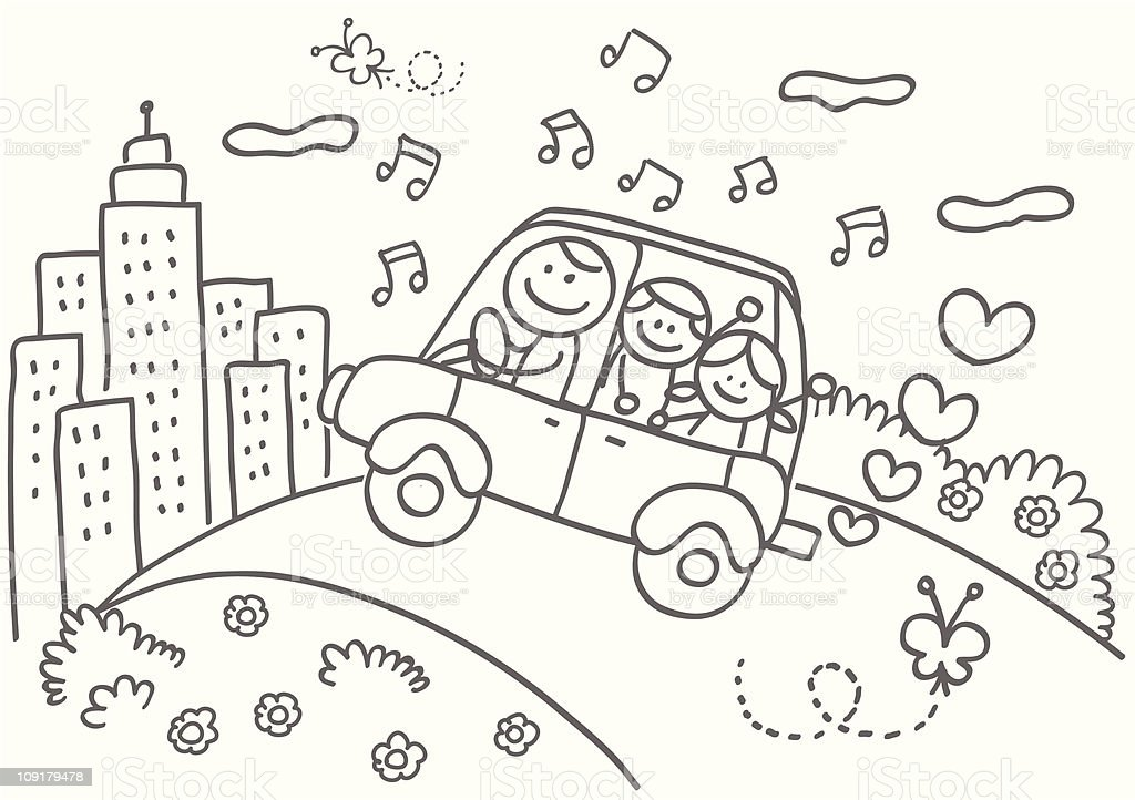Happy Family With Fatherchildren Riding Car To Skyline