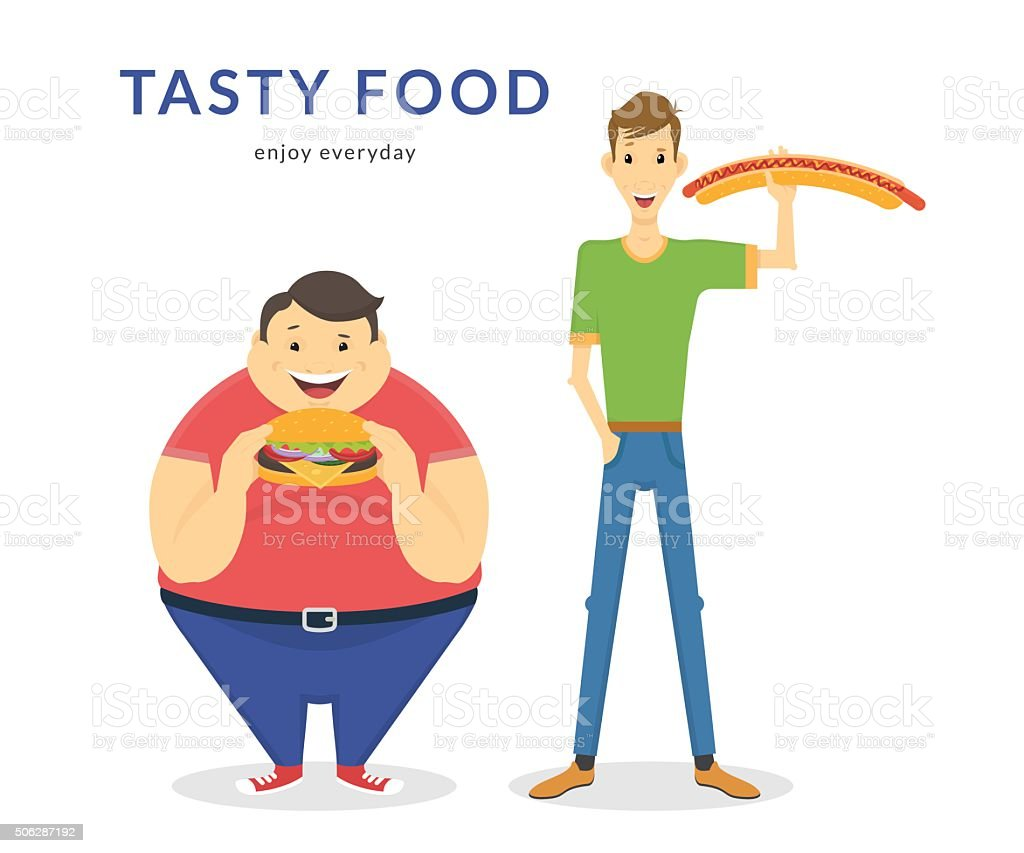 Happy Fat And Thin Men Eating A Big Food Stock Vector Art