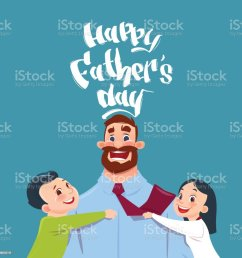 happy father day family holiday daughter and son embracing dad greeting card royalty free [ 1024 x 1024 Pixel ]