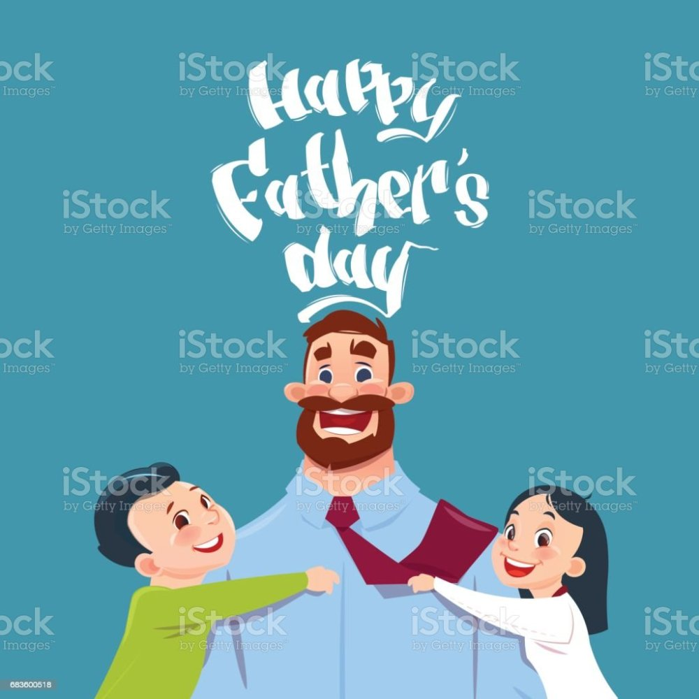 medium resolution of happy father day family holiday daughter and son embracing dad greeting card royalty free