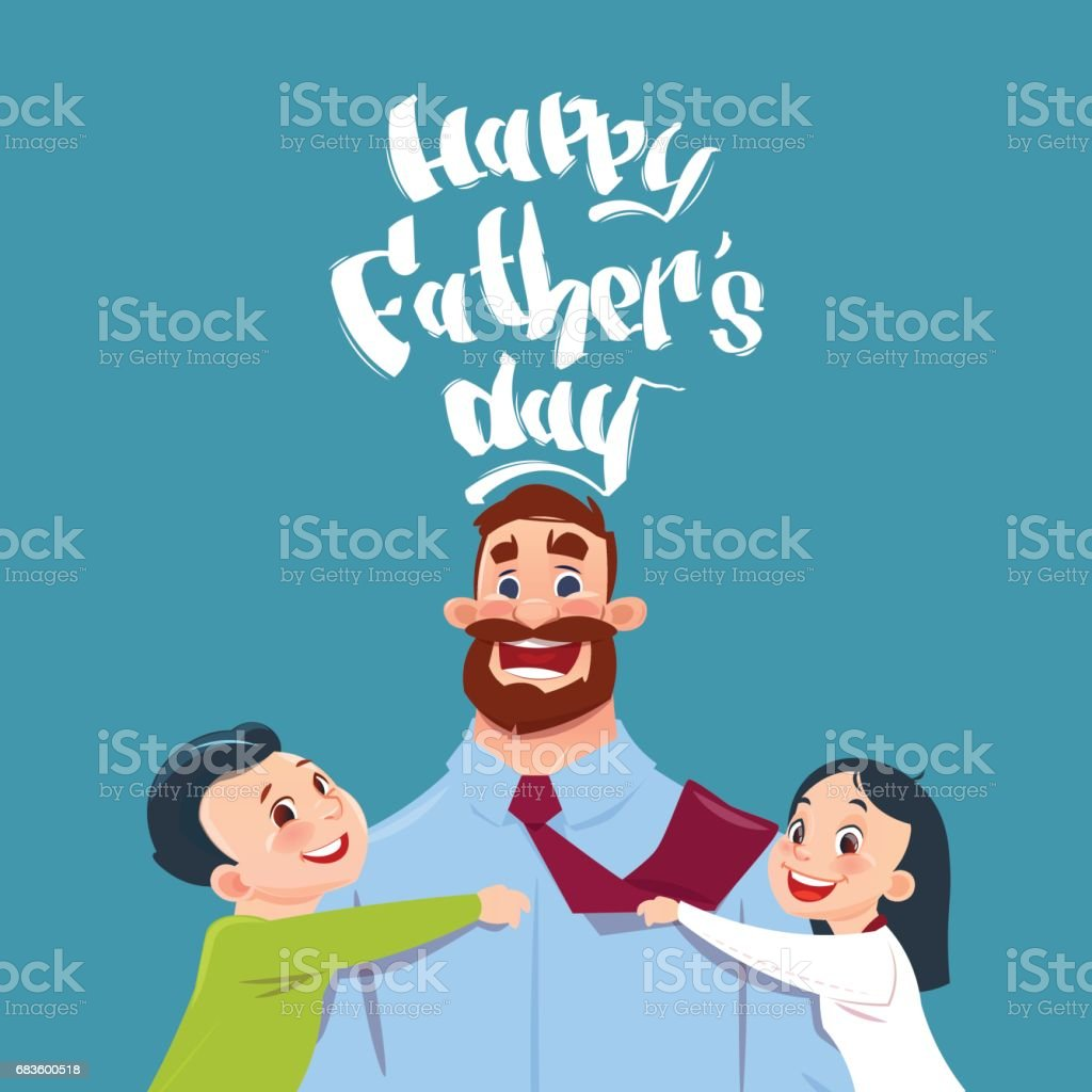 hight resolution of happy father day family holiday daughter and son embracing dad greeting card royalty free