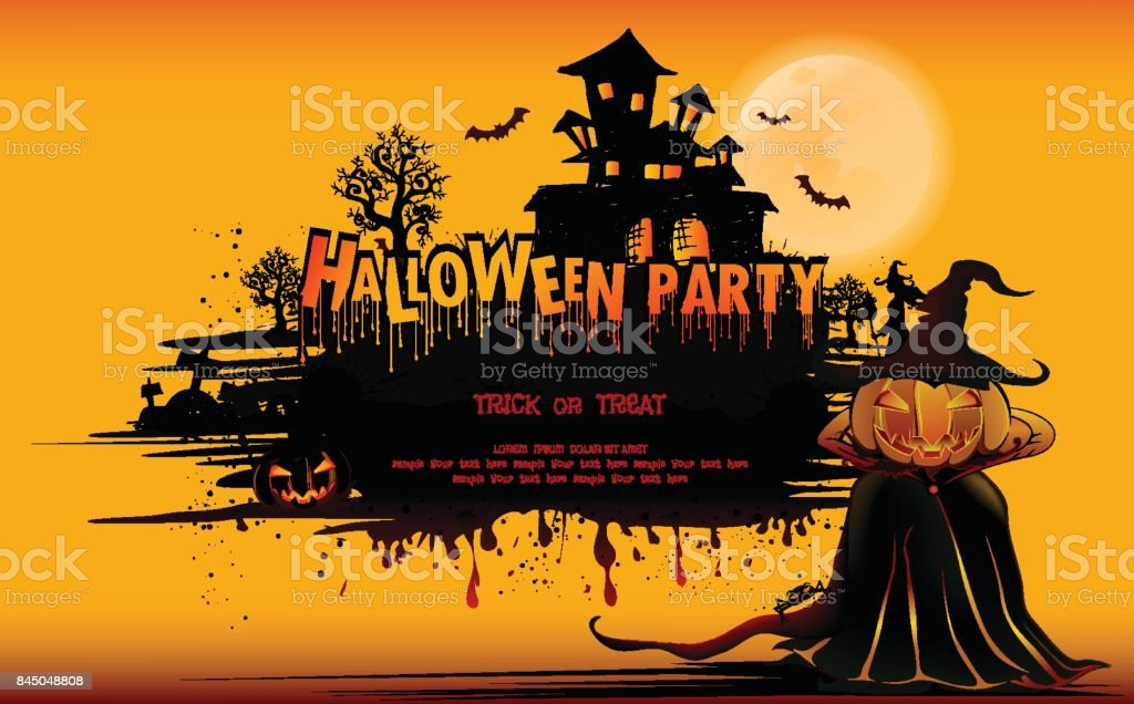 Happy Halloween Background With Pumpkin Haunted House And