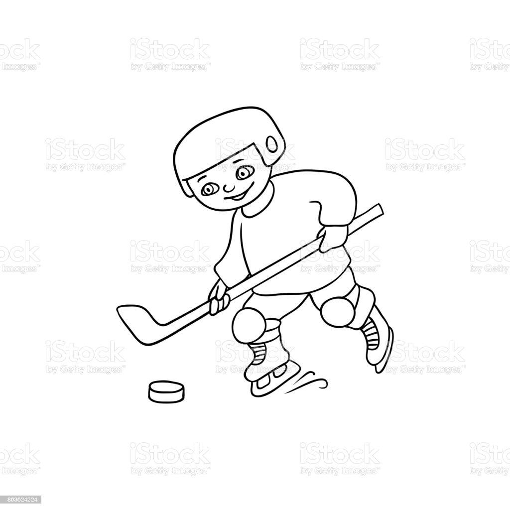 https www istockphoto com fr vectoriel heureux petit gar c3 a7on jouant au hockey noir et blanc gm863624224 143422429