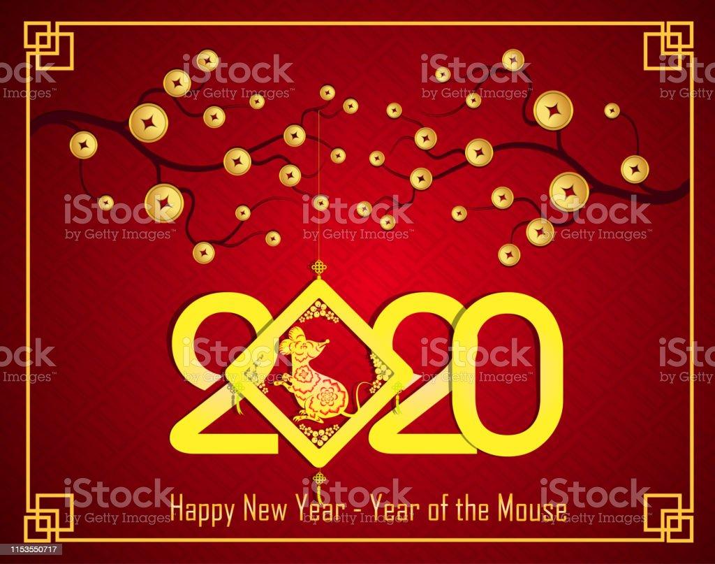 2020年新年快樂老鼠的鼠年向量圖形及更多中國圖片 - iStock
