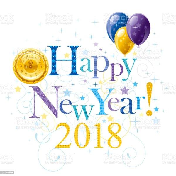 happy year 2018 blue golden